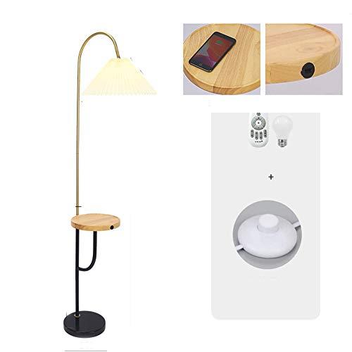 LED Lámpara de pie cálido metal madera mesa, Con función de carga inalámbrica y control remoto inteligente para salón, comedor, lectura, sofás, dormitorio,C