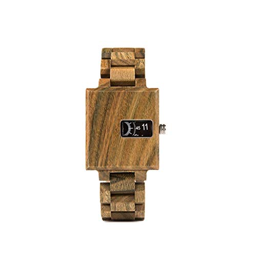 Leyue Reloj de Madera, Reloj de Cuarzo Cuadrado, Reloj Deportivo Casual de Negocios, Movimiento Importado de Japón