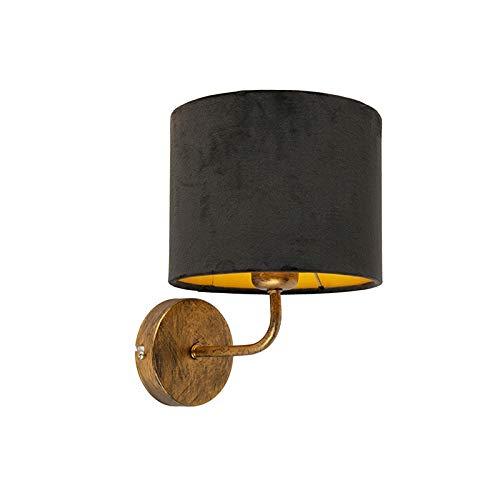 QAZQA Rétro Applique Murale vintage or avec abat-jour en velours noir - Matt Métal/Tissu Noir,Doré Rond E27 Max. 1 x 60 Watt/Luminaire/Lumiere/Éclairage/intérieur/Salon/Cuisine
