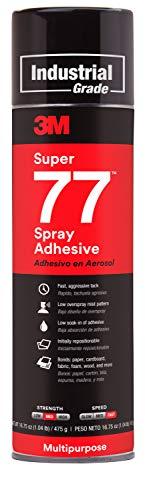 3M Super 77 Multipurpose Permanent Spray Adhesive Glue, Paper, Cardboard, Fabric, Plastic, Metal, Wood, 16.75 oz