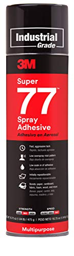 3M Super 77 Multipurpose Permanent Spray Adhesive Glue, Paper, Cardboard, Fabric, Plastic, Metal, Wood, 16.75 oz
