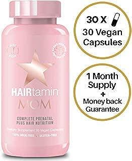 HAIRtamin MOM Vegan Prenatal Vitamins for Women, Natural Multivitamin for Expecting Mothers with Biotin, Probiotics, Vitamin B-6, Iron, Best Post-Natal Vitamin to Promote Healthy Hair & Nails - $29.99
