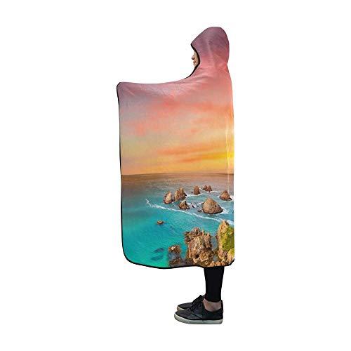 FETEAM Hooded Blanket Nugget Point Küstenansicht Sunset Blanket Comfotable Hooded Throw Wrap