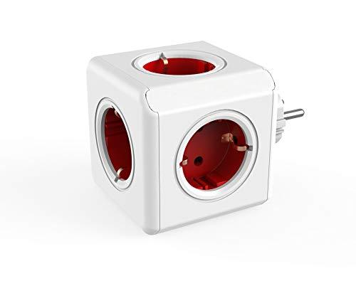 Dr. Bott Regleta Multi-Cubo Original, Adaptador de Viaje con 5 enchufes no superpuestos y ladrón de Escritorio sin Cable, Estilo Schuko de 230 V, Rojo/Blanco