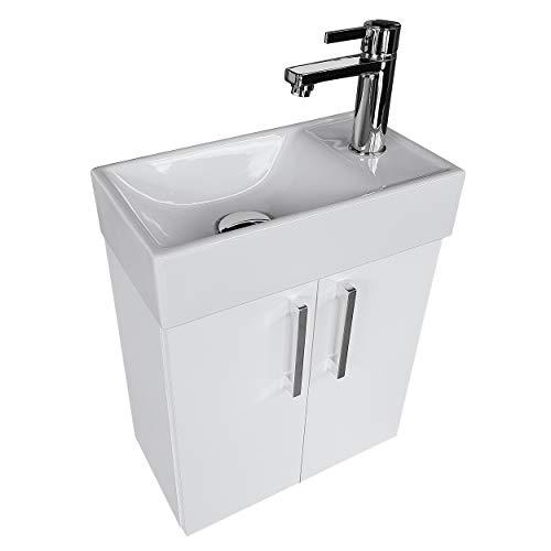 paplinskimoebel Waschplatz Waschbecken mit Unterschrank Badmöbel Set Waschtisch 40x22 Links/Rechts (Weiß) Waschtischunterschrank Keramikwaschbecken