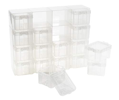 Sortierkasten mit 16 Aufbewahrungsboxen inkl. Deckel transparent 28x22x6,5cm Sortiermentskasten Organizer Ordnungssystem Container Schmuckkasten Werkstatt Schubladen Aufbewahrungskabinett Sortierbox
