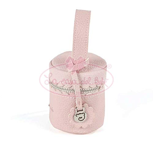 Pasito a Pasito. Funda Portachupete de Bebé Biscuit. Asa de mano con broche lateral para colgar en el cochecito o bolsa de maternidad. Color Rosa. Medidas: 8 X 9 X 8cm.