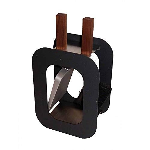 Kaminbesteck Kamingarnitur mit Nussholzgriffen in drei Farben B/H/T - 23/40,5/15 cm by MS Beschläge® (Anthrazit)