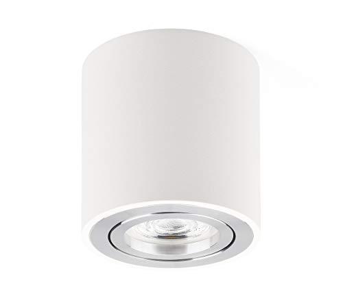 Lampada da soffitto a LED, piatta, orientabile, 230 V, con lampadina sostituibile da 5 W, GU10, 3000 K, luce bianca calda, diametro 80 x 84 mm, luce bianca calda (Bianca)