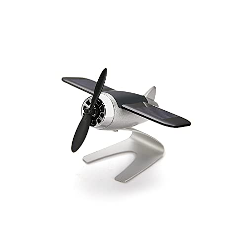 SHUILV. Energia Solare Aeromobile Modello Alloy Energia Solare Ruota Aeroplano Ornamenti Diffusore di Olio Essenziale Artigianato Metallo per L'Ufficio Auto Decorazione della casa (Nero)