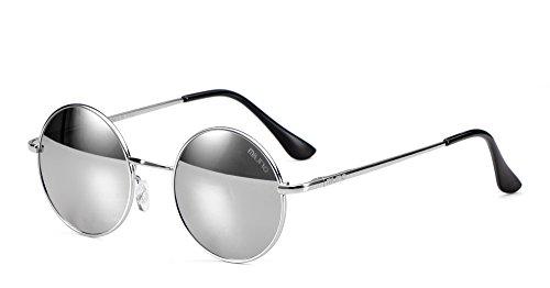 Miuno® Zonnebril met ronde glazen, gepolariseerd, gepolariseerd, cadeau voor dames en heren, nikkelbril, veerscharnier 8016