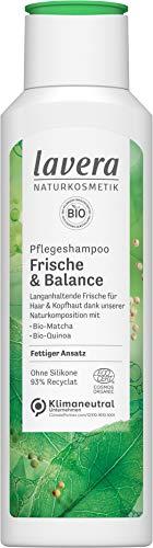 lavera, Pflegeshampoo Frische Balance mit BioMatcha BioQuinoa langanhaltende Frische für Haar Kopfhaut Naturkosmetik vegan 250ml, weiß