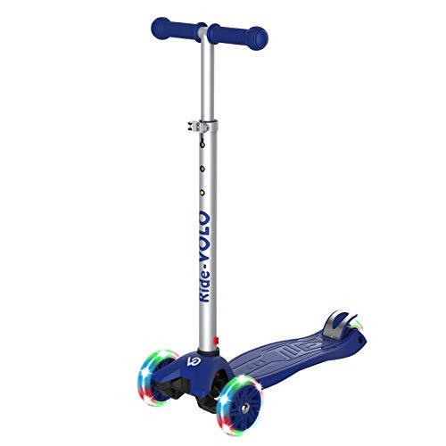 RideVOLO K01 Kick Scooter ,PU Flashing Wheels,3 Adjustable Heights,ABEC-7 Wheel Bearings,5.1inch Extra-Wide Deck,Max Load 110lbs.