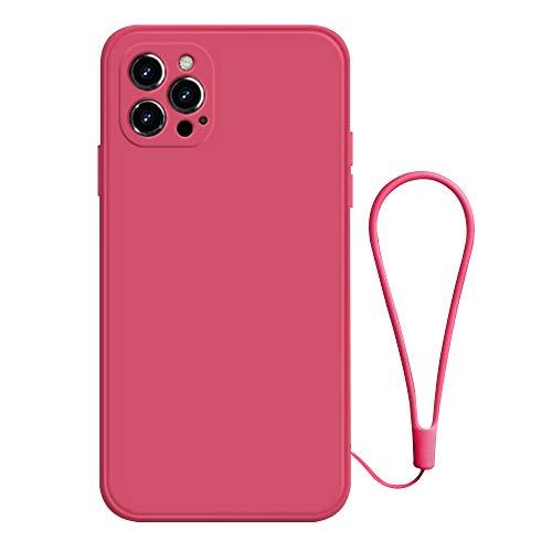 DALADA Funda de silicona líquida compatible con iPhone 12 Pro de 6,1 pulgadas y iPhone 12 Pro Max de 6,7 pulgadas y iPhone 12 Pro Max, suave, mate, ultrafina, TPU, antiarañazos, antigolpes, con cordón