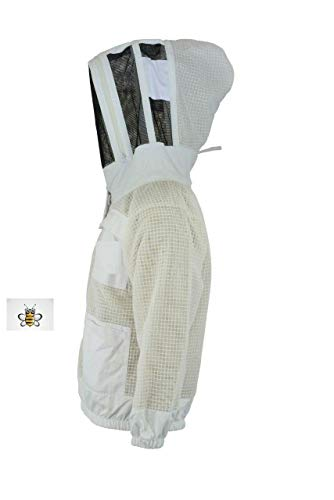 Protective Bee Schutz Bee 3 Schicht Sicherheit Unisex Weiß Stoff Mesh Imkerei Jacke Imkerei Fechten Schleier Schutzkleidung Imkerbekleidung Imkerei Schutzkleidung Belüftete Biene-M