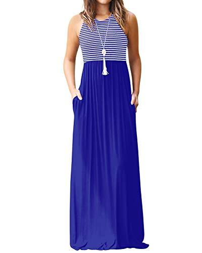 YOINS Maxikleider Damen Strandkleid Sommerkleid für Damen lang Ärmellos Strandmode mit Streifen A-blau EU40-42