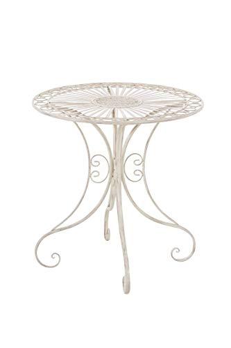 CLP Table de Jardin en Fer Forgé Hari - Table de Terrasse au Style Antique - Table Jardin en Fer avec Un Diamètre de Ø 70 cm et Une Hauteur de 7, Couleurs:Antique crème