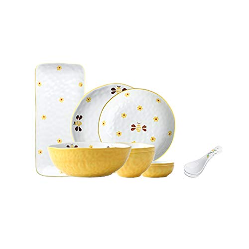 Xu Yuan Jia-Shop Dinner Plates 10-Piece Kitchen Dinnerware Sets Durable Ceramic Dinner Plate Sets Creative Hand Painted Bee Dinnerware Set, Service for 2 Dessert ​Salad Plates