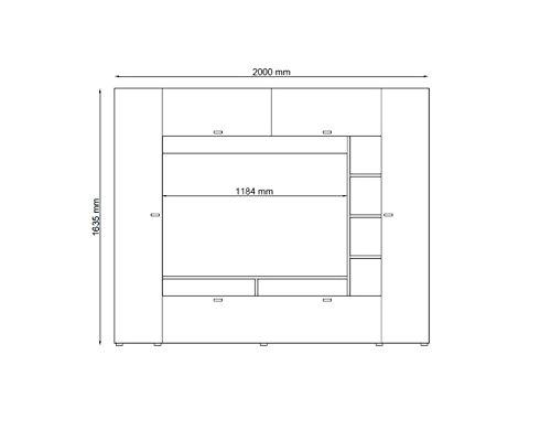 Wohnwand VIGO, Anbauwand, Wohnzimmer Möbel, mit Beleuchtung - 2