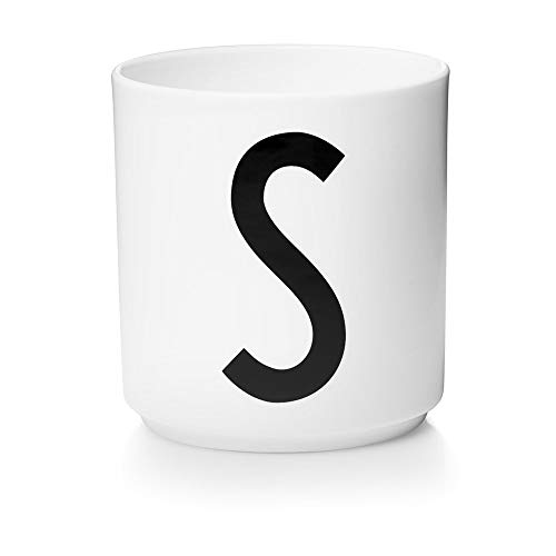 Design Letters Persönliche Porzellantassen Weiß (S) | Dekorative mit vielen Funktionen | Kaffeebecher/Kaffeetassen | Tasse in Porzellan mit Buchstabe | Personalisierte Geschenke | Erhältlich von A-Z