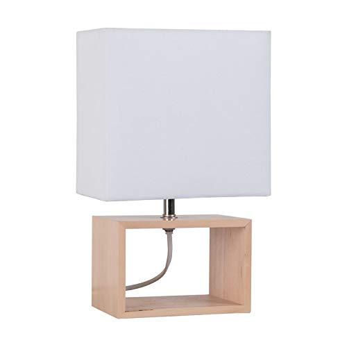 Corep - Liv - Lampe à Poser Bois/blanc - Lampe à poser