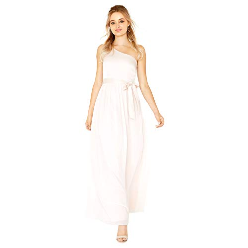 Little Mistress Womens/Ladies Pearl One Shoulder Satin Top Maxi Dress (10 US) (Nude)