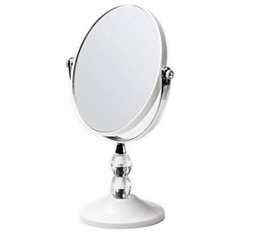 Miroir cosmétique Miroir de maquillage sur le comptoir, miroir pivotant sur meuble pivotant à 360 ° Miroir de beauté double face réglable Miroir cosmétique (Color : White, Size : 8.5 inch)