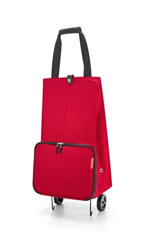 reisenthel foldabletrolley HK3004 red – Faltbarer Trolley mit 30l Volumen zum Einkaufen – Einklappbare Räder – B 29 x H 66 x T 27 cm