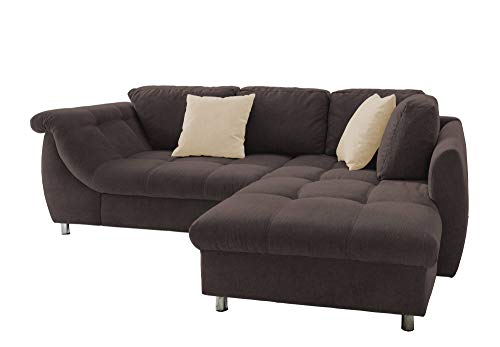 lifestyle4living Ecksofa in Dunkelbraun mit Schlaffunktion | Eckcouch Eckgarnitur Polsterecke L-Couch Sofa | Moderne Wohnlandschaft inkl. Rückenkissen und Zierkissen