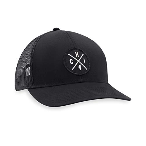 CHI Hat - Chicago Trucker Hat Baseball Cap Snapback Golf Hat (Black)