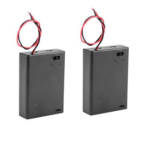 sourcingmap® 2 Stücke Draht ON/OFF Schalter 3 x AA 4.5V Batteriehalter Kasten Box mit Deckel de