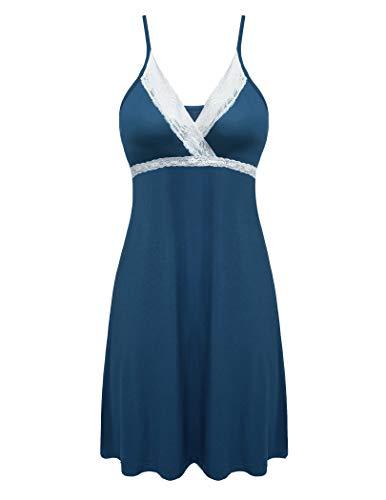 Hotouch Women Lace Sleepwear Dress Nightgown Chemise Full Silp Nightwear Peacock Blue M