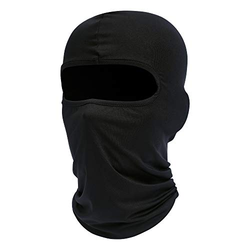 Black Balaclava, Full Face Mask Neck Gaiter, Tactical Scarf Mouth Cover, Summer Cooling UV Protector, Neck Warmer Headband Winter Windproof for Outdoor Sports for Men/Women