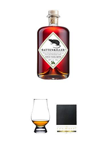 Rattenkiller Kräuterlikör 0,7 Liter + The Glencairn Glass Whisky Glas 1 Stück + Schiefer Glasuntersetzer eckig ca. 9,5 cm Durchmesser