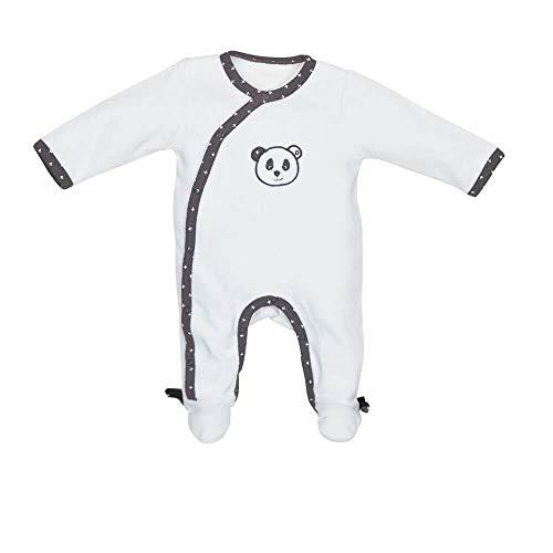 Pyjama bébé blanc naissance ouverture côté Panda Chao Chao - Sauthon Baby Deco