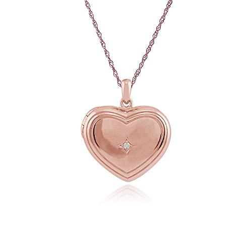 Gemondo Medaillon, Rose vergoldet Sterling Silber Diamant 1pt Herz 45cm Medaillon Halskette