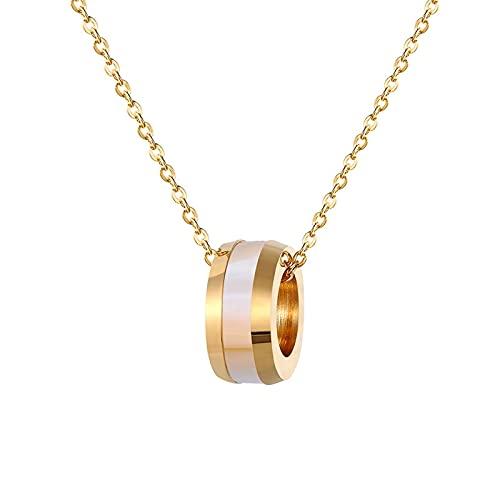 collar Clásico Círculo Medio Concha Colgante Collar Acero Inoxidable Color Oro Joyería Mujer Collar Regalo