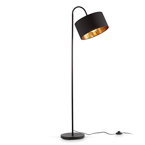 B.K.Licht lámpara de pie retro giratoria I pantalla de tela negra-dorada I E27 I 1 lámpara I pantalla de tela 30 cm I cable de 140 cm con interruptor de pie I sin bombilla