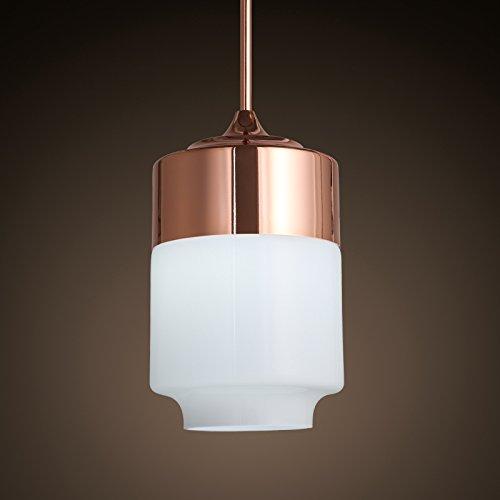 SDKKYNordic minimalista cilindro chapado de vidrio lámpara colgante dormitorio porche moderno bar restaurante el faro único 178 * 290mm, blanco cálido.
