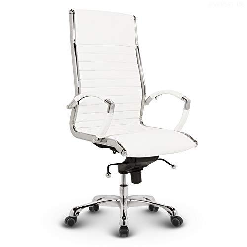 VERSEE Design Bürostuhl Chefsessel Montreal - Echt-Leder - weiß - Drehstuhl, Bürodrehstuhl, Schreibtischstuhl, Chefstuhl, Designklassiker, hochwertige Verarbeitung, Stuhl, 150 kg belastbarkeit