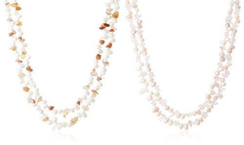 [ピュアパール] Pure Pearl 淡水パール&アゲート&ローズクウォーツ 2本組ロングネックレス オレンジ クリッカー付き PP0062N-10N-OR