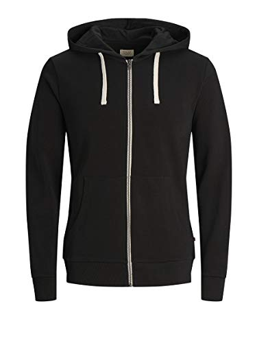 Jack & Jones Jjeholmen Sweat Zip Hood Noos Sudadera, Negro (Black), Medium para Hombre