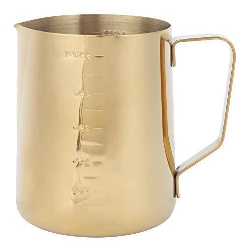 Vikenar Aufschäumen Krug Gold Milch Pitcher,Edelstahl-Kaffee von Milch Cup Pitcher mit Skala for Heim Kaffee Latte Art (Gold 600 ml)