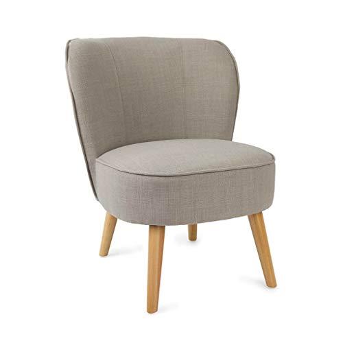 Butaca de diseño pequeña para Dormitorio Gatsby, símil Lino, Color Gris y Beige, cómoda, Mini sillón, Pata en Madera de Haya,59x66x75 cm.