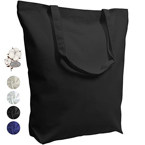 TOPDesign 2 | 4 | 6 | 12 Pack Super Strong Large 17.5'x16.5'x5' 10oz Cotton Canvas Tote Bag, Reusable Grocery Shopping Bags, Blank Black Bags for Crafts, DIY Your Creative Designs (Pack of 6)