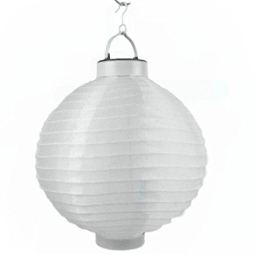 LED Lampion 6 Farben Ø 20 cm - Party- und Gartenlaterne - Laterne Papierlaterne Gartendeko (Weiß)