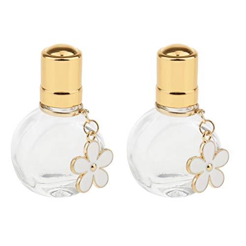 non-brand 2 Botellas de Vidrio Roll-on de 10 Ml Botella de Vidrio Pequeña Recargable Vacía