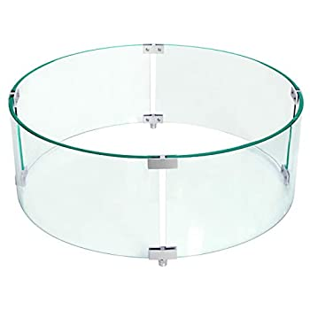 Fire Pit Glass Wind Guard Round,23  X 8  Round Clear Tempered Glass Fire Pit Flame Guard,Fire-Resistant Wind Screens Kit 8mm Thickness Fit 19  Round Fire Pit Burner Pan Outdoor Propane Fire Pit Table