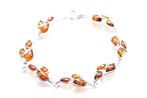 Baltic Amber Leaf Bracelet, Amber and Sterling Silver