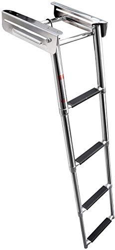 Marinebaby 4-Step Ladder Under Platform Telescoping Slide Mount Boat Boarding Ladder, Stainless Steel Marine Ladder